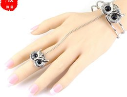 Gold Silver Owl Rings NZ - F0495 European and American jewelry New retro style Owl bracelet ring ligament bracelet female