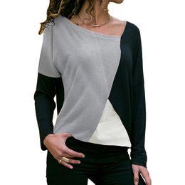 T Shirt Loose Australia - Autumn Winter Long Sleeve Woman Tshirt Top 2019 Casual Patchwork Pullovers Loose T-shirt Streetwear Cotton Tee Shirt Femme Tunic