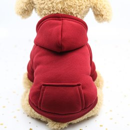 Wholesale 6 Colors Cat Clothes Soft Pet Small Dog Cat Coat Hoodies Sporting Puppy Kitten Sweater Costume Sportwear XS S M L XL XXL