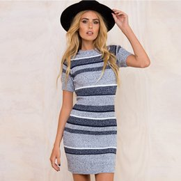 354ca1a40352 Women Knitted Bodycon Dresses 18 FW New Arrivals Gray Striped Tighten Dress  Short Sleeve Mini Dress Free Shipping Sexy INS Hot