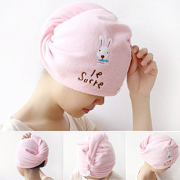 $enCountryForm.capitalKeyWord NZ - Microfiber Fabric Hair Towel Magic Drying Towels Embroidery Rabbit Hat Cap Hair Dry Quick Absorbent Cap 20x56cm
