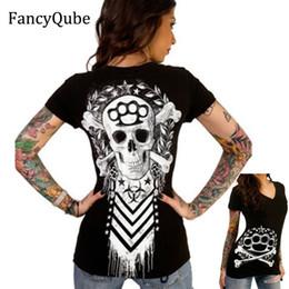 $enCountryForm.capitalKeyWord NZ - 2017 Summer Cool T Shirt Women Fashion 3D Printed Skull Pattern Tops Sexy Causal Women Short Sleeve V-Neck Punk Style Skull Tees