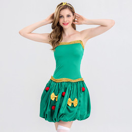 $enCountryForm.capitalKeyWord UK - 2018 NightClub Bar Party Seduction of Uniform Sexy Green Bow Christmas Santa Claus Cospaly Costume DS Stage Dress Disco Holiday Coat 8320