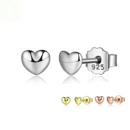 Großhandel 100% 925 Sterling Silber Petite Plain Hearts Ohrstecker für Frauen Silber Kleine Ohrring Modeschmuck brincos YMPAS441