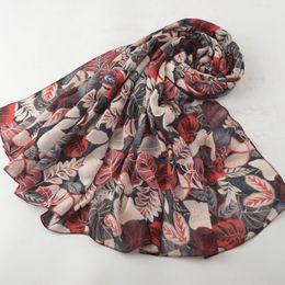 Cotton Viscose Scarves Australia - Women winter 2019,leaves printing scarf,cotton viscose hijab,viscose scarf,Shawls and scarves,shawls wraps,british style,cape