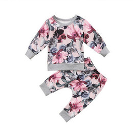 bb368e8bf4e9 Baby Clothing 2pcs Newborn Baby Girls Clothes Coats T-shirt Tops+Floral  Pants Outfits Set