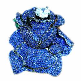 Chinese  whole saleBlue CZ Micro Crystal Pave Rose Flower Jewelry Brooch Connector 60x62mm manufacturers