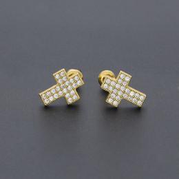 $enCountryForm.capitalKeyWord NZ - Cross Stud Earrings Mens Hip Hop Earring Bling Bling Iced Out Micro Pave Cubic Zircon CZ Crucifix Earrings for Women Rock Jewelry Cheap