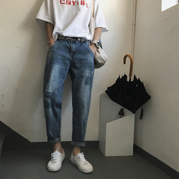 New Trend Casual Jeans Canada - 2018 Youth Spring And Autumn New Japanese Fashion Trend Campus Wind Boys Casual Loose Solid Color Best-selling Design Jeans