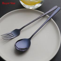 $enCountryForm.capitalKeyWord Australia - 2pcs Korean 18 10 Stainless Steel Dinnerware Dinning Forks Gold Salad Spoon Set Long Handle Black Korean Spoons Kitchen Tools