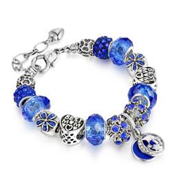 antique silver bangles for women 2019 - Fashion Antique Silver DIY Women Charm Bracelet Classic Big colors Crystal Beads copper Bangle bracelets for Women cheap