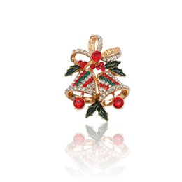 95dafe5ad90 Fashion Exquisite Christmas Brooch Colorful Crystal Enamel Pin Bowknot  Bells Pins And Brooches For Women Jewelry Christmas Gifts