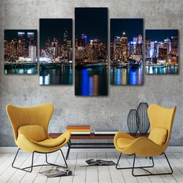 $enCountryForm.capitalKeyWord Australia - 5 Pcs New York Night Posters And Prints Home Decor Wall Art Picture Canvas Painting Cuadros Decocation No Frame