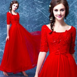 simple red cocktail prom gown dresses NZ - flowers sequined robe de soiree cap sleeve Evening Dress 2018 vestido longo red lace half sleeve long prom dresses Formal gown