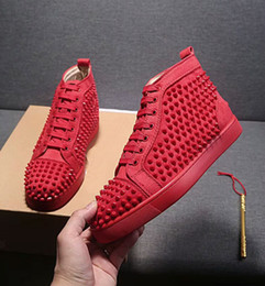Designer silver weDDing shoes online shopping - Big Size Eur36 Designer Shoes High Cut Red Bottom Spike Sedue calf Sneaker Luxury Party Wedding Shoes Genuine Leather Casual Shoes