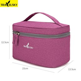 Discount cotton pouches wholesale - Travelsky New Portable Travel Cosmetic Bag Women Waterproof Makeup Bag Men Cosmetics Case Pouch Toilet Make up Zipper Ba