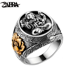 $enCountryForm.capitalKeyWord Australia - Thailand Buddha Elephant Ring Authentic 100% 925 Sterling Silver Rings for Men Vintage Punk Style GANESHA GANESH Men Jewelry D18111306