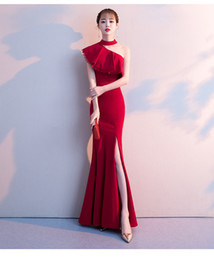 $enCountryForm.capitalKeyWord UK - 2019 Summer New European and American Sexy Single Shoulder Halter Neck Fish Tail Elegant Evening Dinner Dress Splitting Wedding Dress A0056