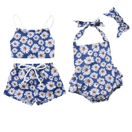 Chinese  0-24M Summer Sweet Pretty Infant Baby Girls Clothes 2PCS Sunflowers Print Back Belt Vest Tops+Shorts Or Romper+Headband manufacturers