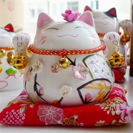 Chinese  Ceramics Fortune Cat Lucky Originality Cute Money Box Small Bell Business Birthday Gift Arts Crafts Home Decor 30jj bb manufacturers