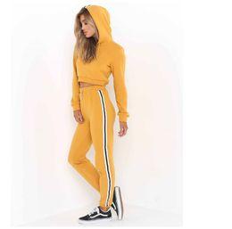 Ladies Leisure tracksuits online shopping - Fashion Women Ladies Tracksuit Crop Hoodies Sweatshirt Pants Sets Leisure Wear Casual Suit Hot Sale New High Quality for Women