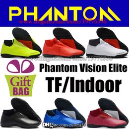 Cheap Indoor Soccer Shoes Free Shipping Canada - High Top Soccer Cleats Turf Mens Phantom VSN Vision TF Soccer Shoes Indoor IC Football Cleats Cheap Football Boots Free Shipping Size 6.5-12