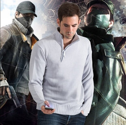 $enCountryForm.capitalKeyWord NZ - Watch Dogs Aiden Cosplay Costume Knitted Casual Men Clothes Sportswear Sweater Aiden Pearce hoodie sweater