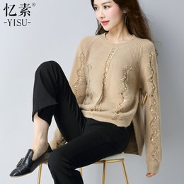 $enCountryForm.capitalKeyWord NZ - New 2017 Autumn Casual Women Sweater Sequins O-Neck Women's Knitted Sweaters Pullovers Fashion Ladies Pullover Clothing Tops