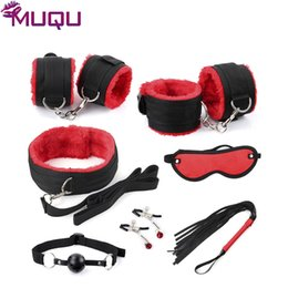 $enCountryForm.capitalKeyWord NZ - New black with red ribbon plush 7 pieces bondage set restraints adult bdsm games bondage kit sex toys for couples sex products S19706