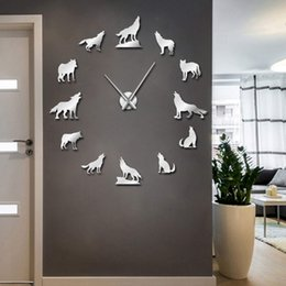 Wall stickers Wolves online shopping - 1Piece Different Wolf Pose DIY Wall Clock Modern Howling Wolf Frameless Wall Watch Wildlife Animal Giant D Mirror Sticker