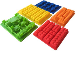 chocolate panning 2018 - 5pcs Building Bricks Ice Trays 10 Legos Silicone Ice Mold Robot Chocolate Mold Jelly Pan Silicone Candy Mold Logo Lovers