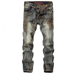 Cheap Ripped Jeans UK - New Arrival Cheap Men Denim Ripped Jeans Street Style American Locomotive Biker Jeans Hip Hop Distressed For Men