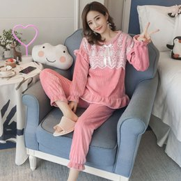 $enCountryForm.capitalKeyWord Australia - Thick Warm Mink Velvet Princess Pajamas Sets for Women 2018 Winter Long Sleeve Flannel Pyjama Sweet Girls Lace Homewear Clothing
