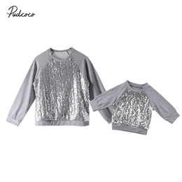 $enCountryForm.capitalKeyWord UK - Family Matching Outfits Mother And Daughter Women Newborn Baby Girls Sequins Top Long Sleeve T-shirt Blouse Sweatshirt Clothes