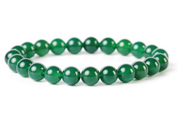 Folk Art Christmas Australia - Natural Green Agates Strand Bracelets Round Beads Ornaments Men and Women Energy Jewelry for Lovers Christmas Gift New