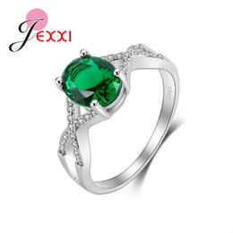 Discount oval zircon rings - JEXXI Top Quality Oval Green Zircon Wedding Party Ring Popular 925 Sterling Silver Rings For Women Engagement CZ Accesso