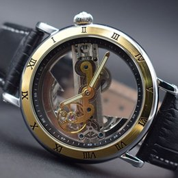 top case mens watches 2019 - 2018 Luxury Design Transparent Case black Leather Strap Mens Watch Forsining Top Brand Luxury Automatic Skeleton Wrist W