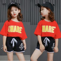 Belly T Shirts Australia - Kids Hip Hop Clothing Casual Cropped T Shirt Tops Outfits Girls Jazz Dance Costumes Ballroom Dancing Clothes Street wear Suits