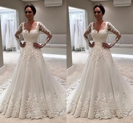 $enCountryForm.capitalKeyWord NZ - Sheer Long Sleeves Vintage Wedding Dresses 2018 Sweetheart Appliques A Line Sweep Train Elegant Bridal Gowns Vestidos De Noiva Customized