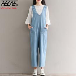 0653344ec60 THHONE Denim Jumpsuit Women Suspender Jeans Pants Long Vintage Plus Size  Rompers Overalls Loose Wide Leg Casual Trousers Female