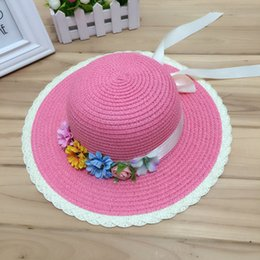 girls pink straw sun hats NZ - 1 Pcs Joker Fashion Women Summer Sun Hat The Flower Bow Parent-Child Straw Hat Beach For Women And Girl 6 Colors