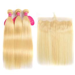 Perstar 613 Blonde Droite Brésilienne Cheveux Weave Bundles De Cheveux Humains Avec Dentelle Avant 3 Bundles Avec Dentelle Frontale Fermeture Remy Cheveux