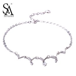 $enCountryForm.capitalKeyWord Canada - SA SILVERAGE Real 925 Sterling Silver Crystal Anklets for Women Fine Jewelry Couple Gift