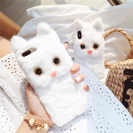 Snow White Phone NZ - Cute 3D Cat Fluffy Back Cover Case Snow White Fur Phone Shell Lovely for iPhone XS Max XR X 6s 7 8 Plus