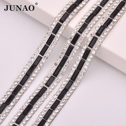 Chain Trimmings NZ - JUNAO 5 Yard*8mm Black Clear Color Hotfix Rhinestone Chain Glass Mesh Crystal Fabric Trim Strass Applique for DIY Shoes Dress