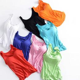 abbafaa08aa05 Women Built In Padded Bra Tank Top Night Sleepwear Breathable Modal Camisole  Solid Casual Basic Shirt Women Tops Bra Vest Summer