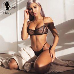 bc8891969 ALINRY conjunto de sutiã sexy lace mulheres fio livre bralette lingerie  halter malha transparente sem costura calcinha íntima lenceria underwear