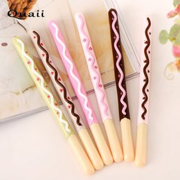 $enCountryForm.capitalKeyWord NZ - Quaii Chocolate biscuit pen Plastic gel pen Personality stationery customization wholesale 6pcs stylo kawaii gel ink writing