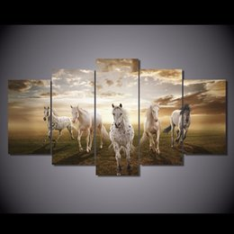 Background Prints Australia - New Style Canvas Painting 5 Panel Animal Horse Prints Bedside Background Home Decor Wall Art Modular Picture Poster Hang Picture
