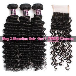 Chinese  Big Spring Sales Promotion Buy 3 Bundles Brazillian Deep Wave Unprocessed Peruvian Human Hair Get One Free Closure Free Part manufacturers